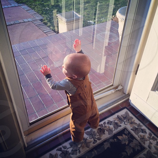 toddler wearing mustard brown overall touching the glass wall photo