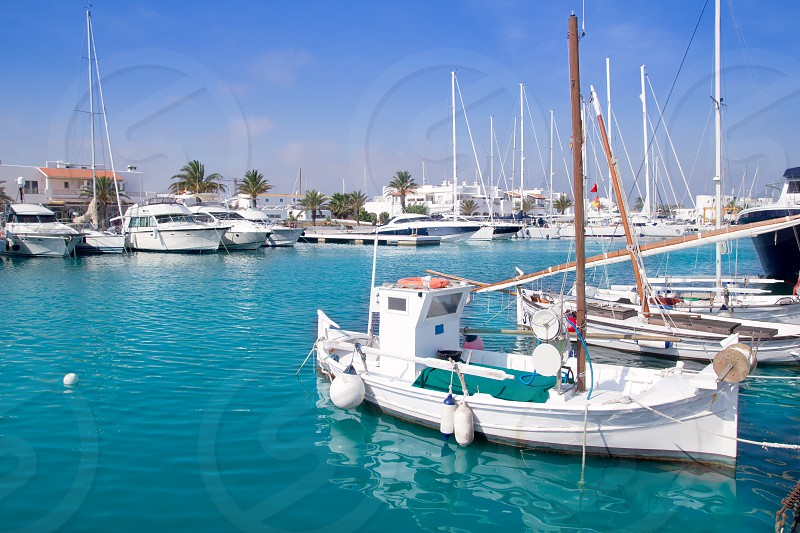 Formentera traditional llaut fisherboats in Balearic islands photo