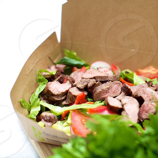vegetable salad with meat photo