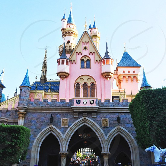 gray pink white and blue castle under blue sky photo