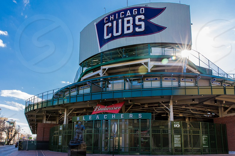 The Wrigleyville neighborhood of Chicago IL. Here is one of the entrances to Wrigley Field the main entrance is under construction. photo
