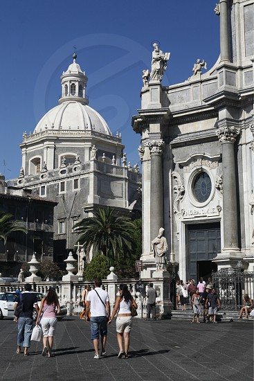the Dom Sant Agata at the Piazza del Duomo in the old Town of Catania in Sicily in south Italy in Europe. photo