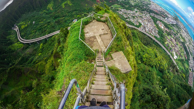 stairway to heaven Haiku stairs Hawaii Oahu hike POV photo