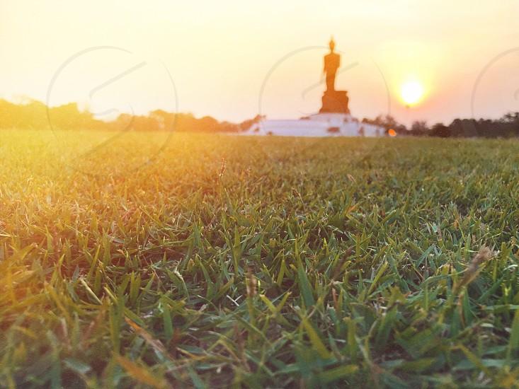 grass sunlight sundown sunset reflection reflect yellow red Buddha image Buddhamonthon park outdoor religion Buddhist Buddhism photo