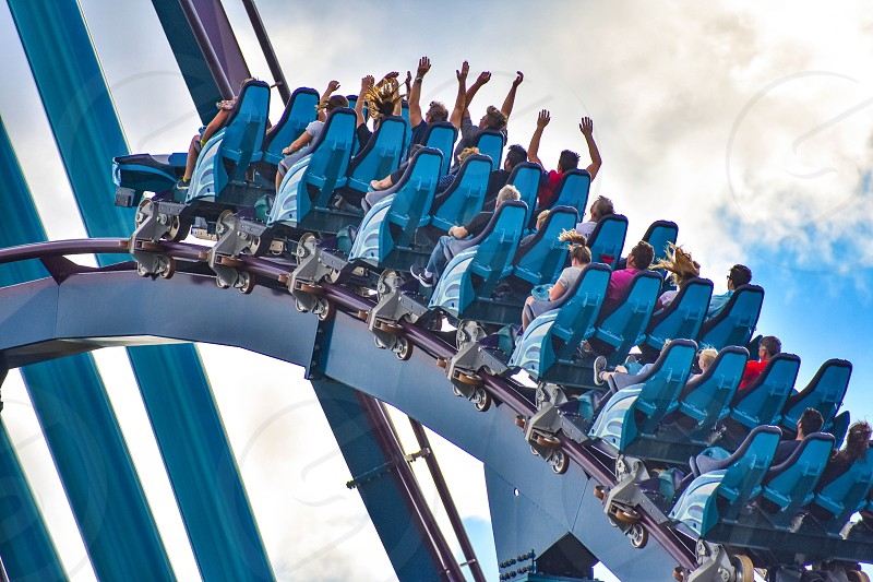Orlando Florida. December 26 2018. People having fun rollercoaster ride  at Seaworld in International Drive area  (5) photo