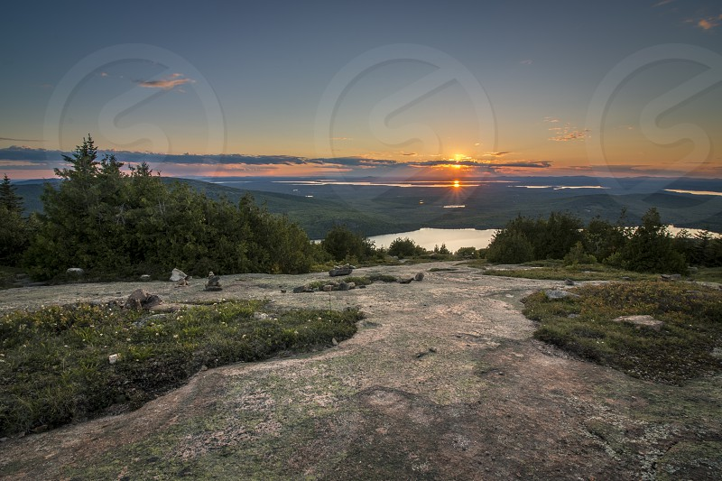 Sunset from Cadillac Mountain in Acadia National Park Maine. photo