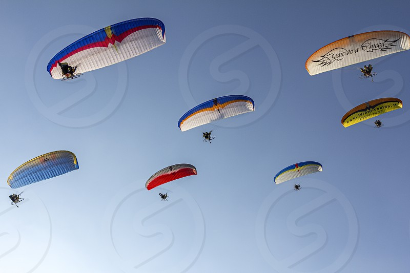 paraglide and blue sky photo