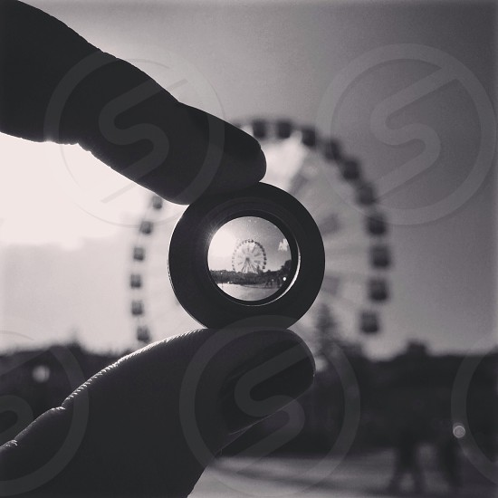 black and white photo of ferris wheel photo