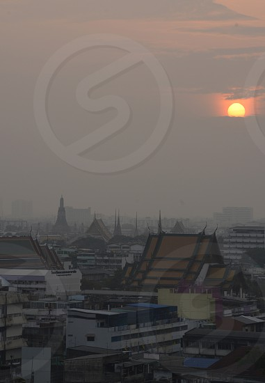 the Temple city of Bangkok in the view from the golden mountain in the city of Bangkok in Thailand in Southeastasia. photo