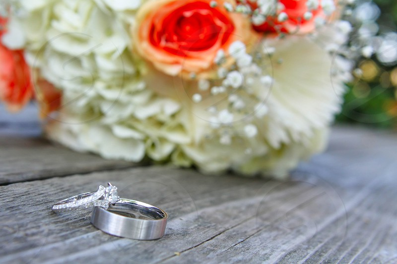 wedding flowers and rings photo
