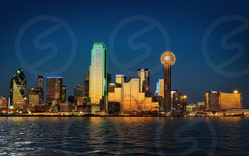 Cityscape view of downtown Dallas Texas at dusk photo