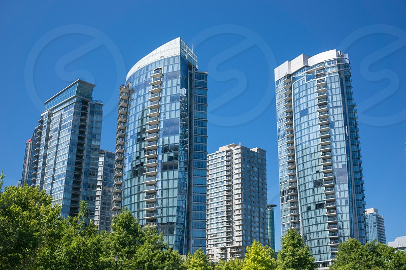 Apartment buildings in Downtown Vancouver BC Canada. photo