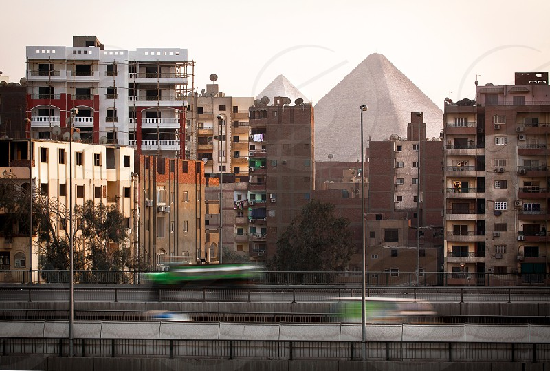 Traffic in front of pyramids  photo
