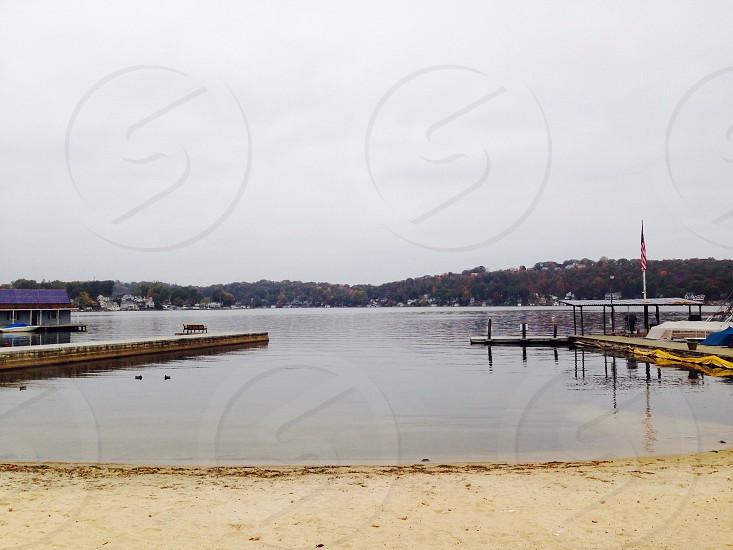 A brisk fall day at the beach photo