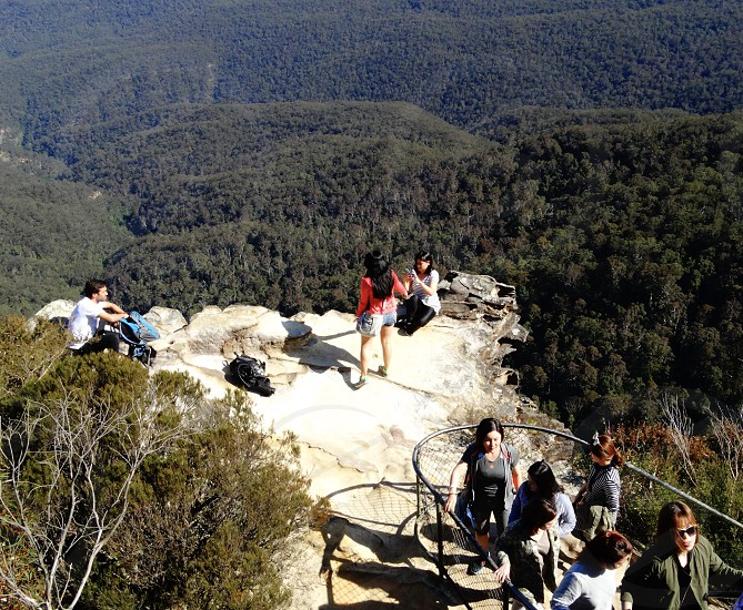 Young people tourism travel holiday mountains daytime Australia blue mountains New South Wales photo