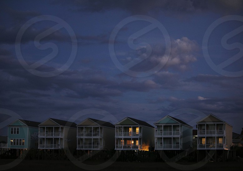 Row of houses at night photo