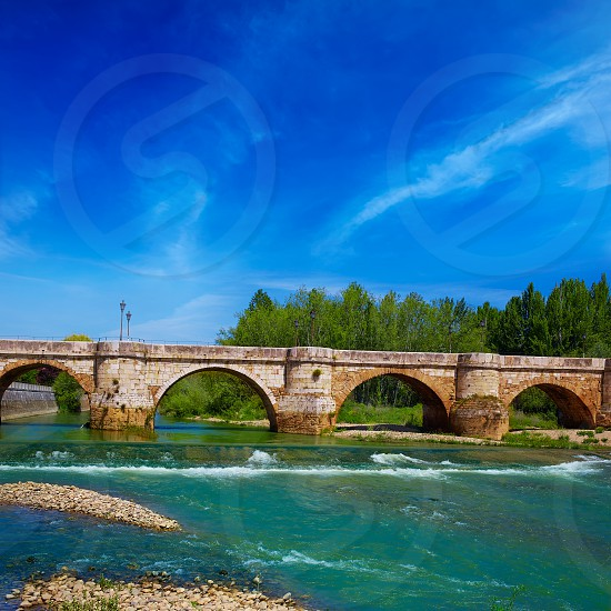 Bernesga river bridge in Leon Way of Saint James at Castilla Spain photo
