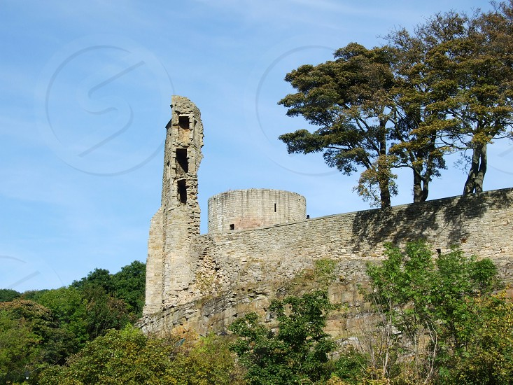 UK. ENGLAND. County Durham. Barnard Castle. The ruins of the castle overlooking the River Tees.  photo