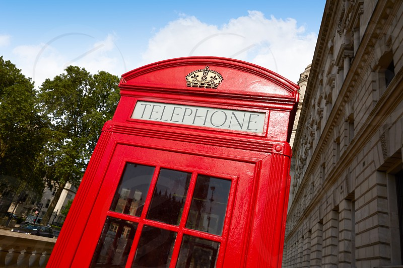 London old red Telephone box in England photo
