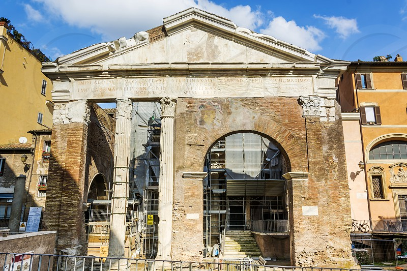 The Porticus Octaviae (Portico of Octavia) is an ancient structure in Rome. The building represents the center of the Roman Ghetto. photo