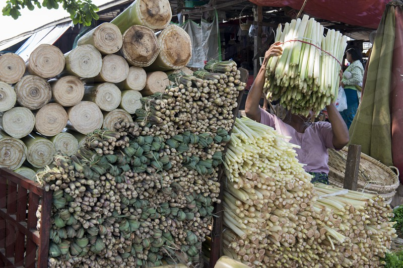 Bamboo at a marketstreet in the City of Mandalay in Myanmar in Southeastasia. photo