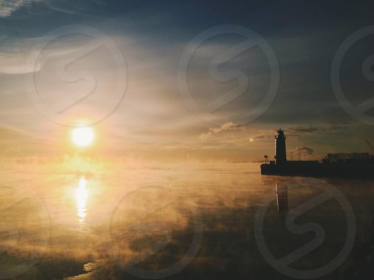 Winter sunrise in Milwaukee WI photo