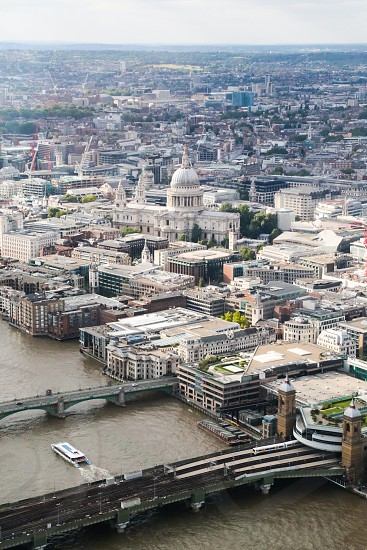Sight London  city  view  city view landmark England  English  Britain  St Paul's cathedral  cathedral  London city Thames  the Thames train architecture building buildings bridges bridge constructions constructed  photo