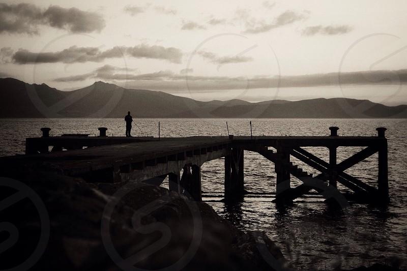 Porten cross pier Arran black and white B&W Nikon d3100 18-55mm photo