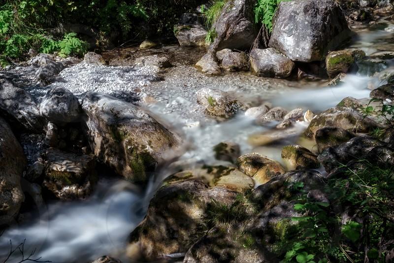 Tiny Rapids at the Val Vertova Torrent near Bergamo in Italy photo