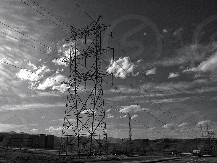 overhead power line photo