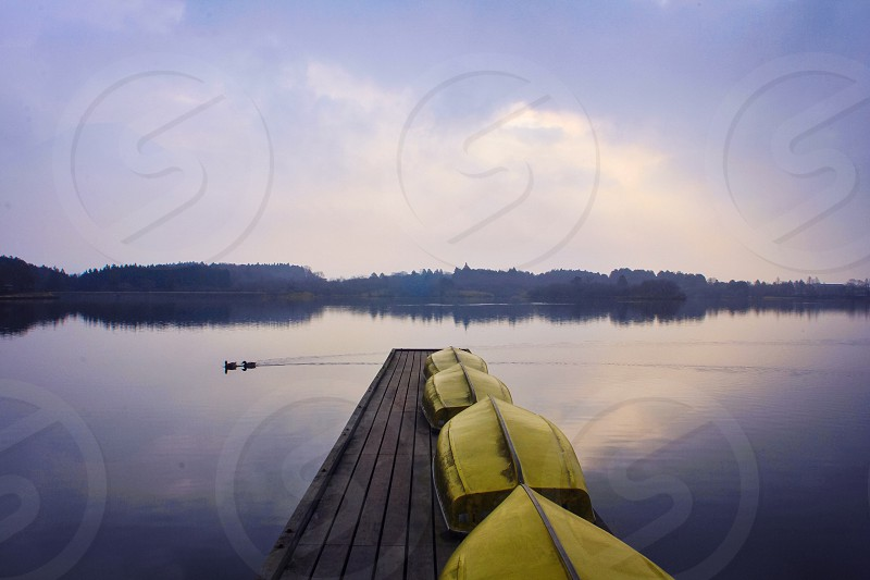 yellow row boats upside down on wooden dock over calm water photo