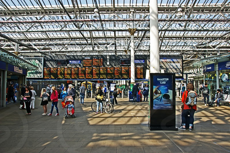 SCOTLAND. Edinburgh Waverley station. The main arrival and departure boards. photo