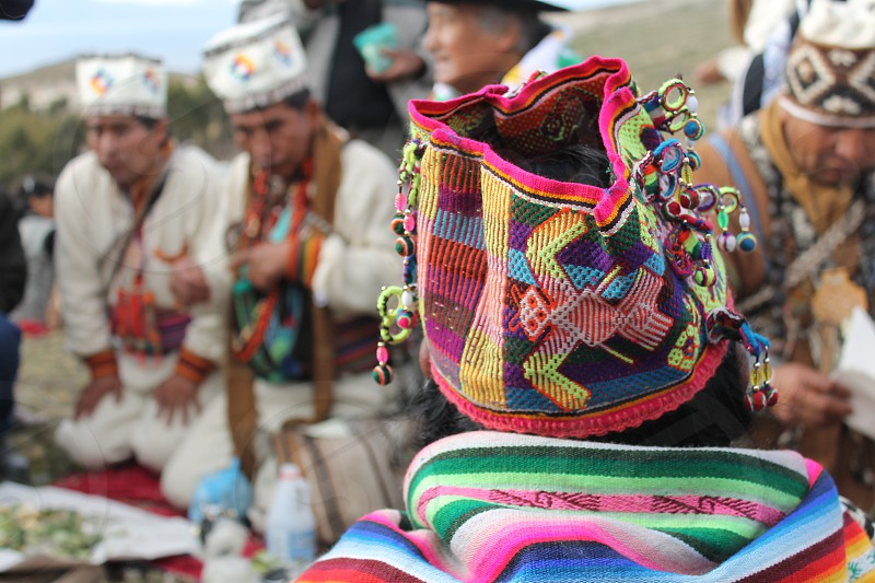 Ethnic patterns festival culture inca Bolivia indigenous traditional dress art tradition spiritual ceremony photo