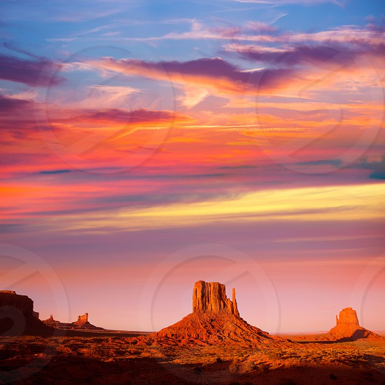 Monument Valley West Mitten and Merrick Butte sunset Utah photo