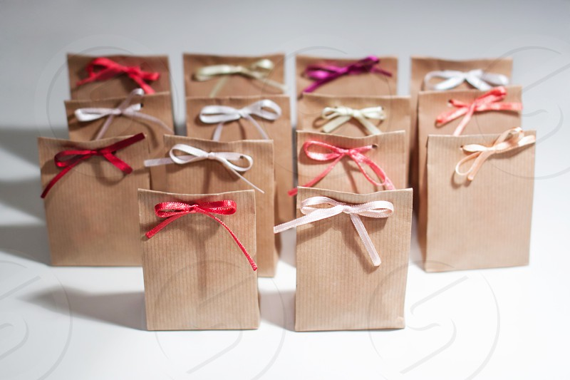a lot of small Christmas gift bags photo