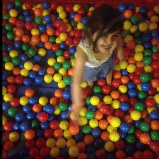 Girl in smash-box of colour. photo