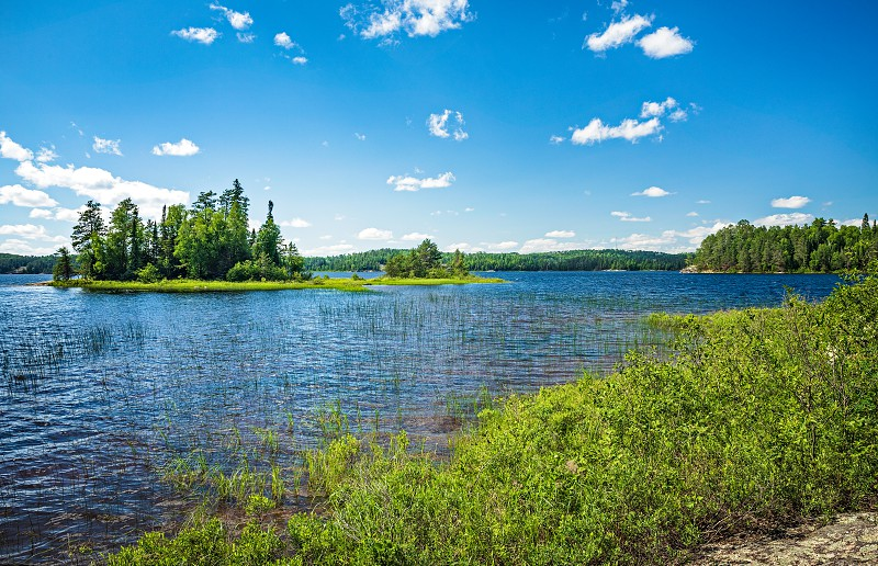 View of an Island on French Lake from at the Chippewa campground in Quetico Provincial Park Atikokan Ontario Canada photo