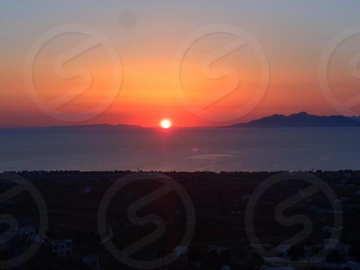 sunrise in Santorini photo