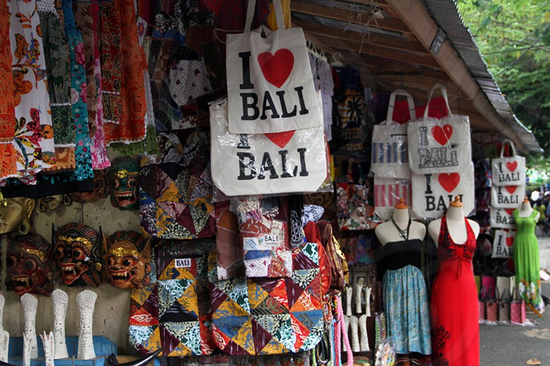 Bali souvenir stand near Ubud. (Bali Indonesia) photo