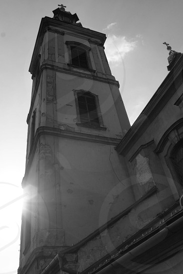 black and white photo of church bell tower photo