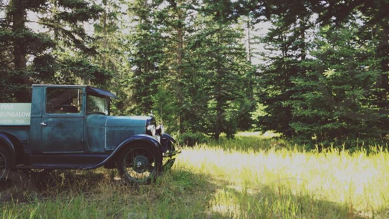 blue vintage truck photo