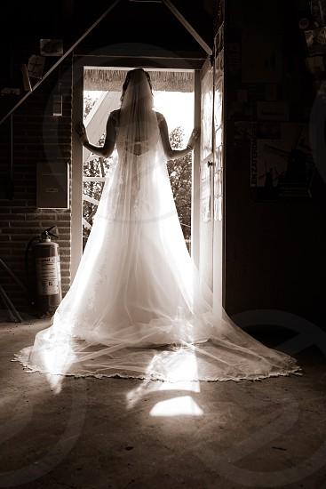 Bride wedding Mill door woman silhouette love newbeginning beginning weddingdress beauty beautifull white photo