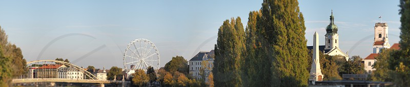 Wide Panorama of Győr City Downtown on a Sunny Autumn Day photo