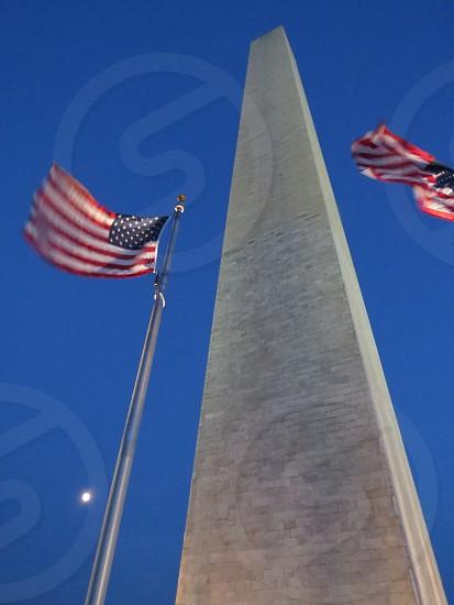 US Flag at the Washington Monument Washington DC photo