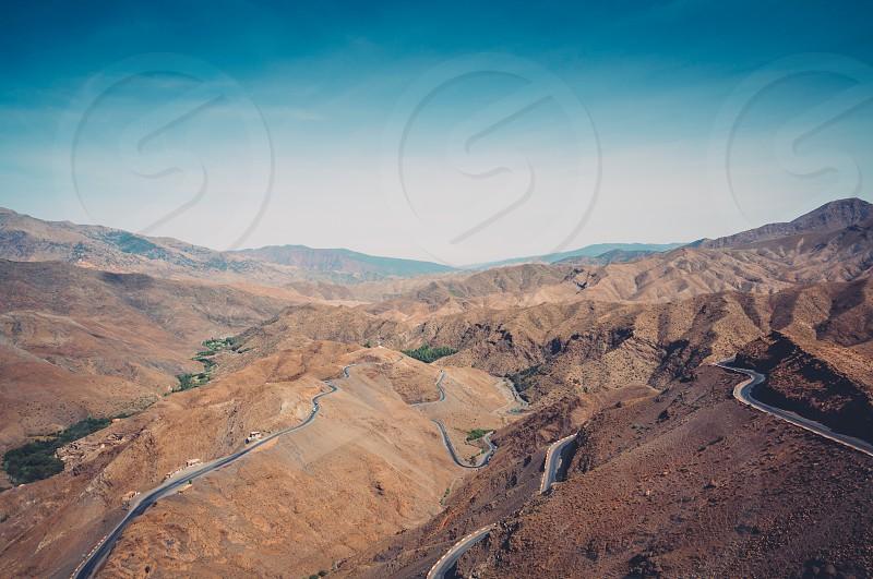 Atlas Morocco mountains desert winding road nature photo