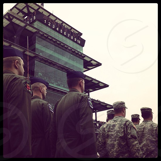 Troops passing the famous pagoda prior to the Indianapolis 500. photo