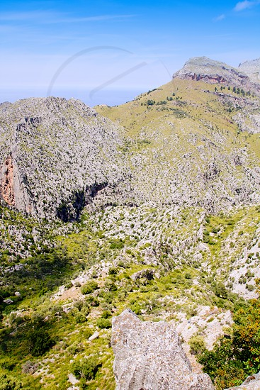 Tramontana mountains in Mallorca with far sea view balearic islands photo