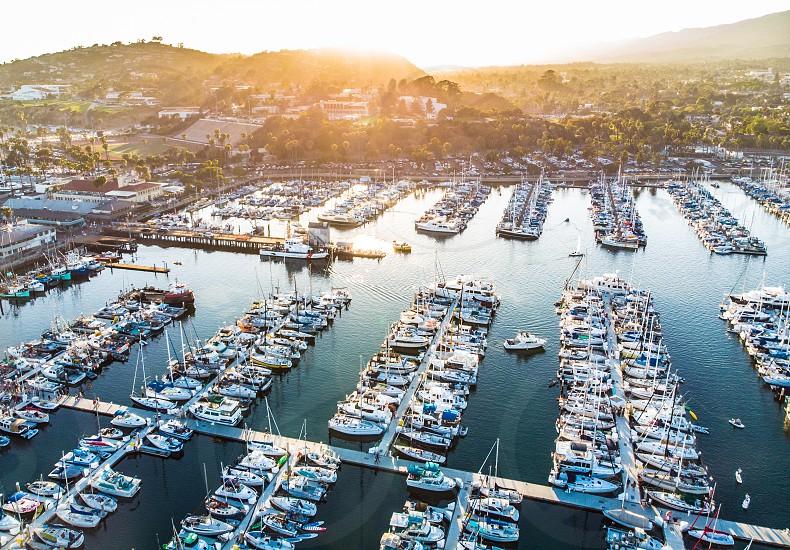 Drone aerial harbor sunset golden hour Santa Barbara California  photo
