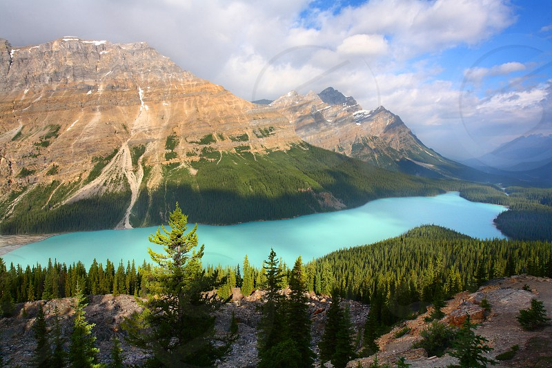 Peyto Lake is a glacier-fed lake in Banff National Park Alberta. photo