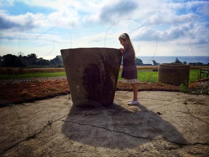 Girl kid child Sweden landscape pot photo